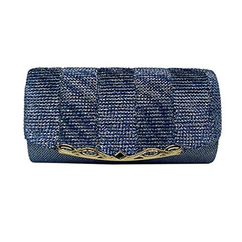 Chain Bridal Party Women Ladies Blue Evening With Wedding Bag Shiny Clutch Glitter Women Handbags Luxury Bag Fxg8wg7pPq