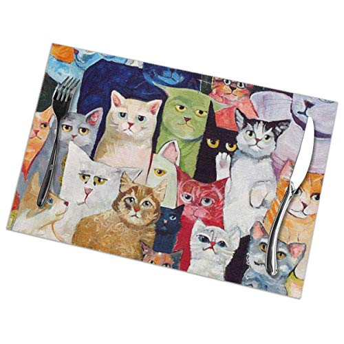 "Cozystore Placemats Set of 6, Cat Table Mats Washable Placemats for Dining Table Wipe Clean, Non-Slip Heat Resistant Kitchen Table Mats Easy to Clean, 12"" X 18"" Rectangular"