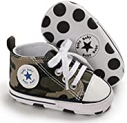 Unisex Baby Boys Girls Canvas Sneakers Soft Soled High-Top Ankle Infant Crib Shoes Toddler First Walkers