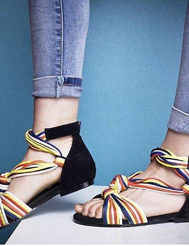LFNLYX Zapatos de mujer-Tacón Bajo-Punta Abierta / Gladiador-Sandalias-Vestido / Casual / Fiesta y Noche-Ante / Semicuero / Cuero-Negro Black