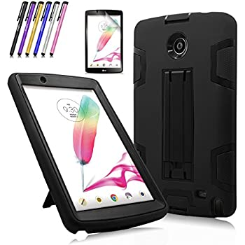 Windrew Heavy Duty rugged impact Shock-Proof Case with Build In Kickstand Protective Case For LG G Pad F 8.0 / LG GPad II 2 8.0 Inch Tablet + Screen Protector Film and stylus pen (Black / Black)