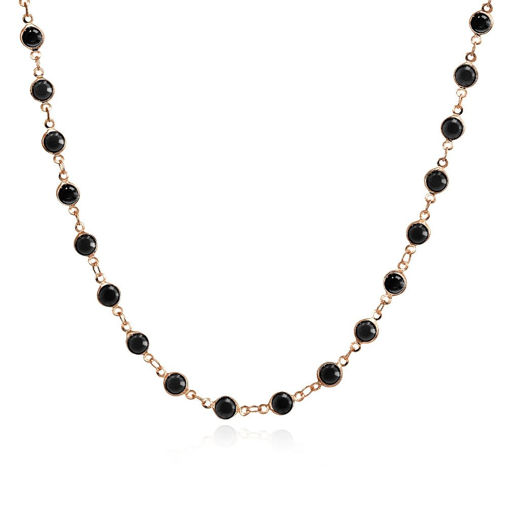 Bria Lou Rose Gold Flashed Black Crystal Chain Link Necklace, 18 Inches