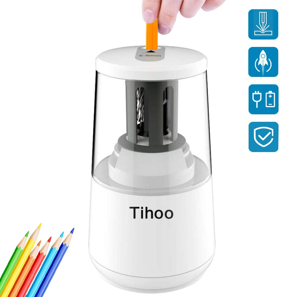 AILYQIN Electric Pencil Sharpener, Heavy Duty Helical Blade Fast Sharpen for No.2/Colored Pencils, Plug in or Battery Operated, Sharpener for Kids Classroom School-White