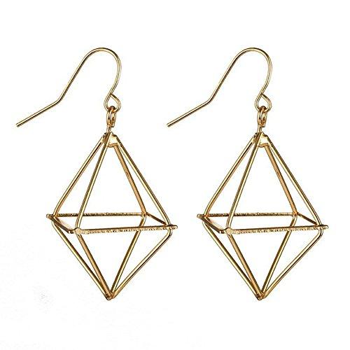 Fashion 3D Hollow Cube Triangle Dangle Drop Earring For Women Geometric Jewelry (gold)