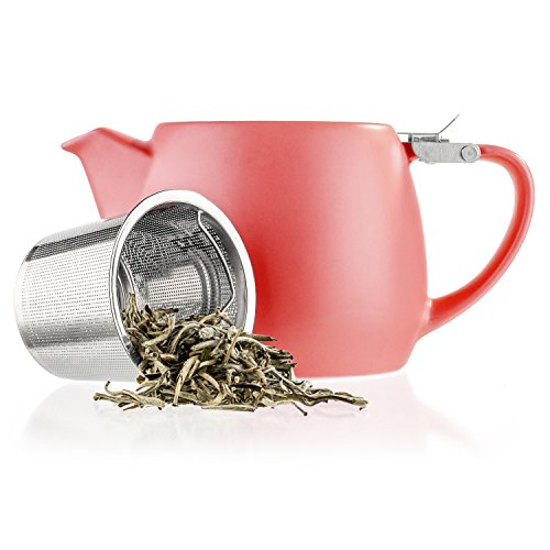Tealyra - Pluto Porcelain Small Teapot Red - 18.2-ounce (1-2 cups) - Stainless Steel Lid and Extra-Fine Infuser To Brew Loose Leaf Tea - Ceramic Tea Brewer - (Teapot Drip)