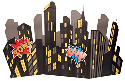 BirthdayExpress Superhero Comics Party Supplies Scene Setter - Standup City Scape Room Decoration