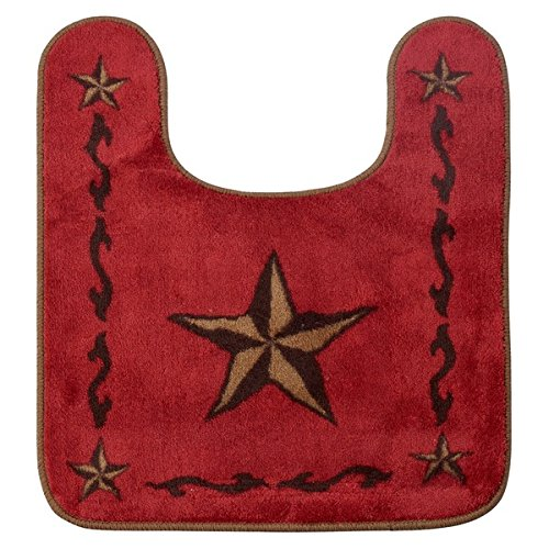 HiEnd Accents Contour Star Red Bath Rug Made from Soft Acrylic