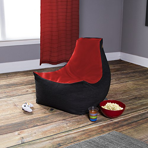 Jaxx Pixel Gamer Chair - Game Room / Home Theater Bean Bag Chair, Red