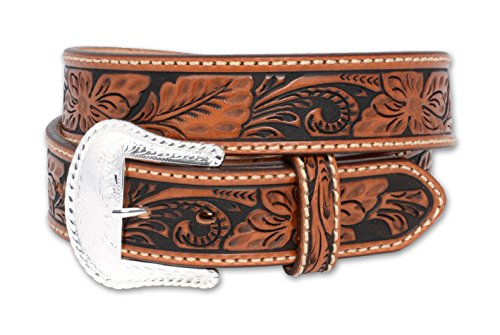 Justin Tony Lama Men's Floral Tooled Leather Belt Reg And Big Tan ()