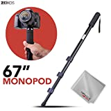 Zeikos 67'' Inch Camera Monopod Bundle for Canon, Nikon, Sony, Samsung, Olympus, Panasonic, Pentax, and All Digital Cameras, Includes Miracle Fiber Microfiber Cleaning Cloth and Carrying Bag
