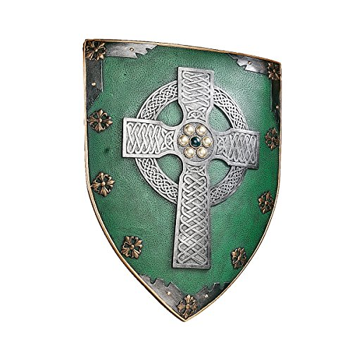 Design Toscano Celtic Cross Warriors Shield Medieval Decor Wall Sculpture, 18 Inch, Single