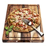 AIJAI Wood Cutting Board for Kitchen(M-XL), Large Multipurpose Thick Acacia Wood Chopping Board Serving Tray for Vegetables, Fruit, Meat, Fish & Cheese| Reversible Butcher Block