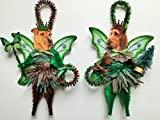 Irish Terrier WOODLAND FAIRY ornaments holiday dog ornaments vintage style chenille ORNAMENTS set of 2
