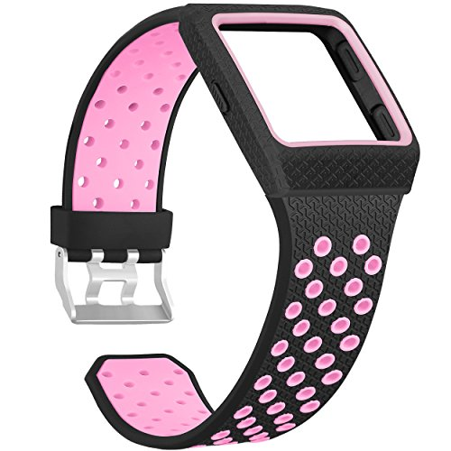 SKYLET for Fitbit Ionic Bands with Case, Fitbit Ionic Replacement Band for Fitbit Ionic Smart Watch, Breathable Ionic Strap, Men, Women, 8 Colors (No Tracker) Black-Pink