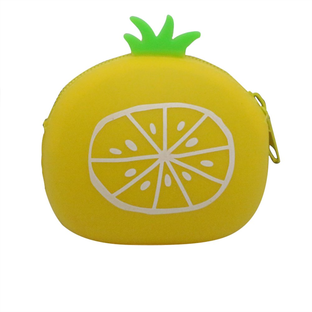 Cratone Cartoon Creative Silicone Sac de Rangement Simulation Ananas Orange Portefeuille B/éb/é Coin Sac pour Casque Rouge /à L/èvres Card Key Holder a S