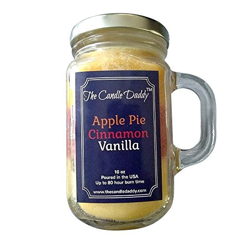 (Apple Pie Cinnamon Vanilla Scented Candle- by the Candle Daddy-  Soy Wax Blend- Mason Jar- 10 Ounce - 80 Hour Burn Time- Poured In Small Batches in)