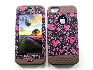HYBRID IMPACT SILICONE CASE + BROWN SKIN FOR APPLE IPHONE 5 PINK HEARTS ON BLACK