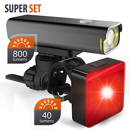 - BrightRoad Front and Back LED Lights for Bikes - 800 Lumens Headlight with 650 ft. Visibility - Reflective 40 Lumens Smart Tail Light with 220° Visibility - Waterproof Bike Light Set, BR-800 + BR-SB40