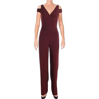 b8c45de55e2 Amazon.com  LAUREN RALPH LAUREN Womens Pleated Cold Shoulder Jumpsuit Red  16  Clothing