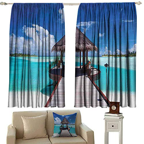 DUCKIL Printed Curtain Ocean Jetty and The Ocean View on Tropical Caribbean Island Beach Resort Image Thermal Insulated Tie Up Curtain W55 xL45 Turquoise Blue Redwood