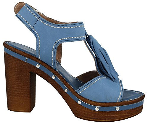 Ladies Aeros Luxury Italian Real Leather Cork Wood Effect Wedge High Block Heel Peep Toe Strappy Comfort Summer Sandals Size 3-8 Royal Blue geTqm