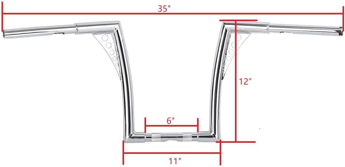 12 Rise 1-1//4 Batwing Ape Hanger HandleBar Fit Harley Sportster XL Softail FLST FXST Chrome