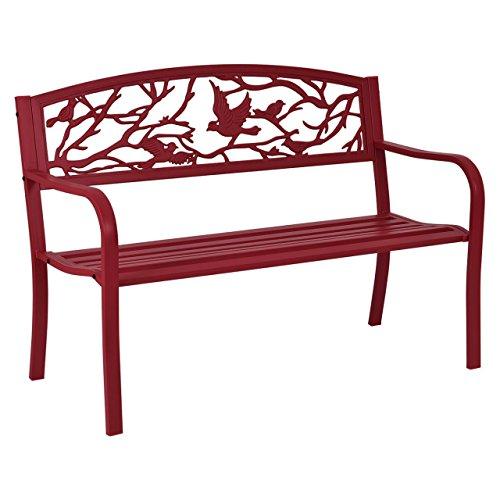 Modern Style Garden Bench Park Yard Outdoor Patio Furniture Cast Iron Porch Chair Red New #623