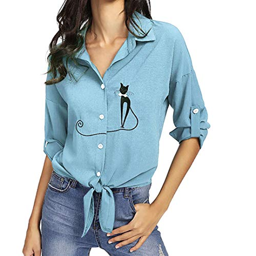 - JOFOW Women's Blouse,Casual Long Sleeve Solid Embroidered Cat Striped Lace Tie Bow Knot Hem Tunic Buttom Down Shirt for Women (5XL,Light Blue)