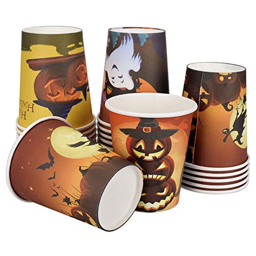 LegendTech Paper Cups Recycled Coffee Paper Cups Togo Halloween Parper Cups for Party Insulated Paper Cup for Tea, Hot Chocolate 100 Packs Smile Pumpkin Skull Bat -