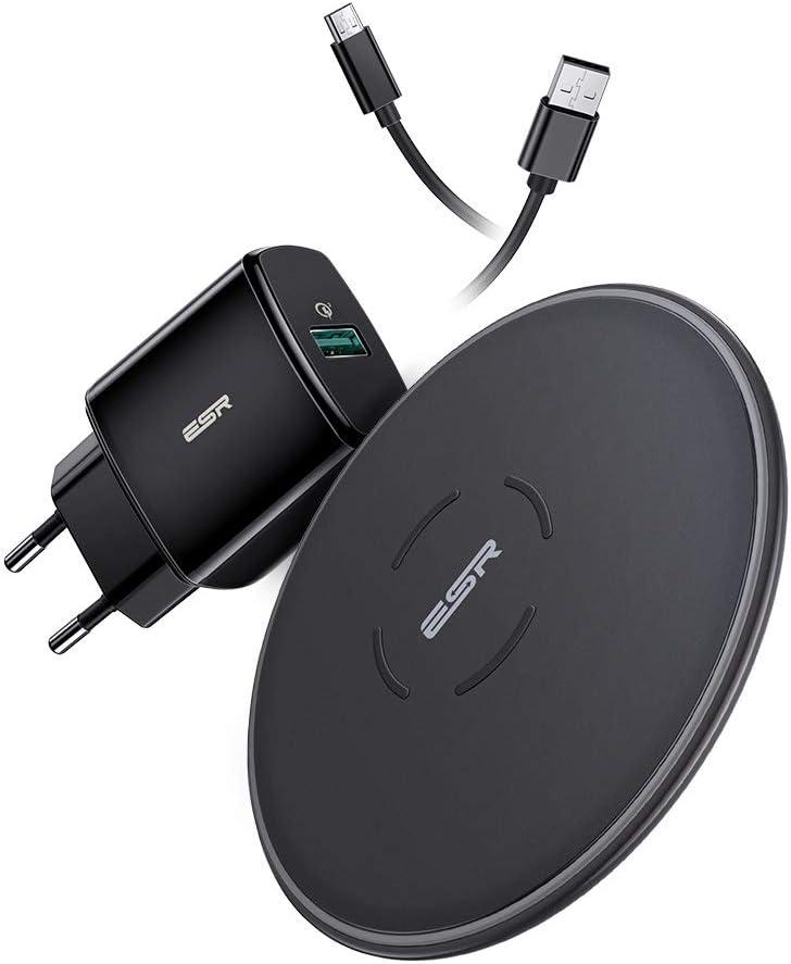 ESR Cargador Inalámbrico Rápido con Adaptador QC 3.0 para iPhone 11/11 Pro/11 Pro MAX/XS/XS Max/XR/X/8/8+, 10W Wireless Charger para Galaxy S20/S20+S10/S10+/S10e/Note 10+/S9/S9+/S8/S8+(estándar UE)