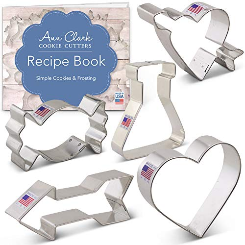 (Valentine's Day Cookie Cutter Set with Recipe Booklet - 5 piece - Love Potion, Heart, Candy, Heart w/Arrow, Arrow - Ann Clark - US Tin Plated Steel)