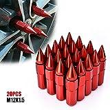 60mm rim - ACUMSTE 20Pcs Spike Lug Nuts, Aluminum M12X1.5 60mm Extended Tuner Wheels Rims Lug Nuts(Red)