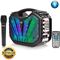 Pyle Portable Speaker  karaoke PA System - Bluetooth Flashing DJ Lights, Built-in Rechargeable Battery, Wireless Microphone, Recording Ability, MP3/USB/SD/FM Radio (PWMA285BT )