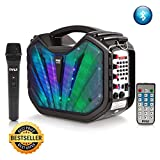 Pyle Portable Speaker Karaoke PA System - Bluetooth Flashing DJ Lights, Built-in Rechargeable Battery, Wireless Microphone, Recording Ability, MP3/USB/SD/FM Radio (PWMA285BT)