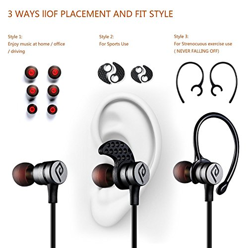 Acquisition Parasom A1 Magnetic Bluetooth Headphones, V4.1 Wireless Stereo Bluetooth Earphones Sport Headset In-Ear Noise Cancelling Headphone Earbuds for Gym Running -Sweatproof, Microphone (Black/grey) compare