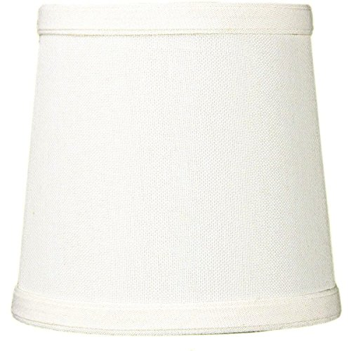 Modern Single Light Drum (5x6x5 Light Oatmeal Linen Drum Chandelier Clip-On Lampshade by Home Concept - Perfect for chandeliers, foyer lights, and wall sconces -Small,)