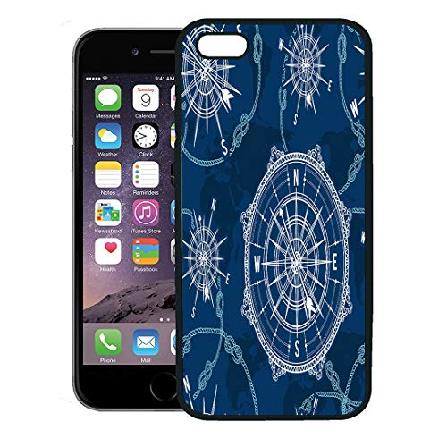 Semtomn Phone Case for iPhone 8 Plus case,Blue Pattern Vintage Compass World Map Wind Rose and Rope Knot Nautical Retro Marine iPhone 7 Plus case -