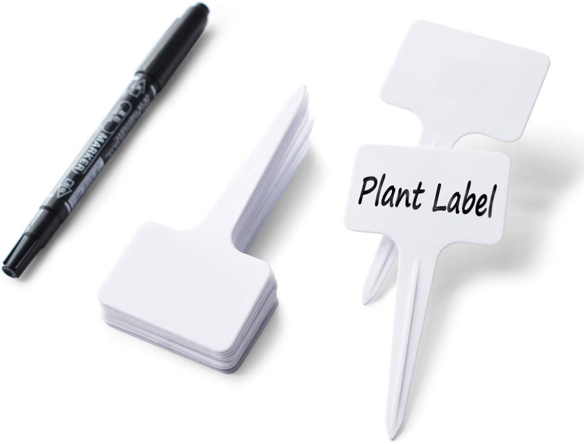 "getbear 100 Pcs Plastic Plant Labels Reusable T-Shape Tags with Waterproof Markers Garden Plants Labels 2.36"" x 3.94"""