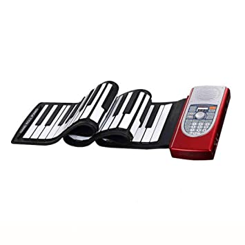 Pianos Teclados Hand-Roll 61 Teclado Teclado Electrónico Plegable Instrumentos Musicales Portátiles Teclados electrónicos (Color : Red): Amazon.es: Hogar