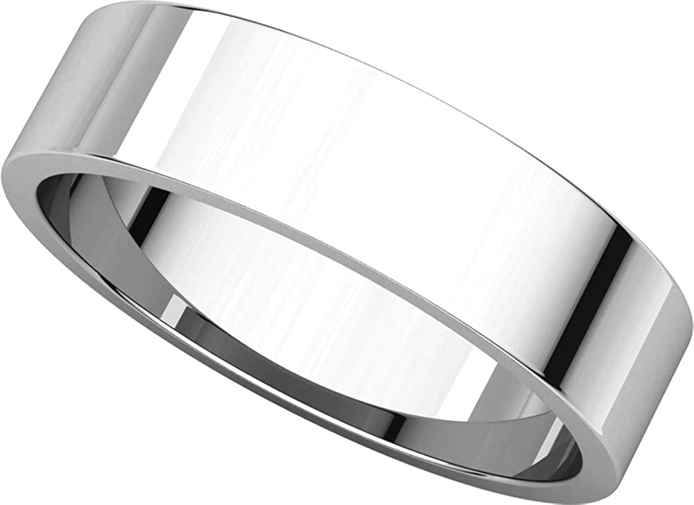 Mens 10K White Gold 5mm Flat Traditional Wedding Band Ring