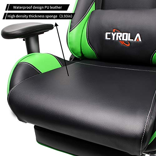 Remarkable Cyrola Racing Gaming Chair Green For Pc Gamer High Back 90 Caraccident5 Cool Chair Designs And Ideas Caraccident5Info