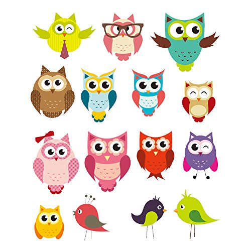 Kids Owl - PARLAIM 0043 Owl and Bird Animal Wall Stickers,Peel and Stick Removable Wall Decals for Kids Nursery Bedroom Living Room