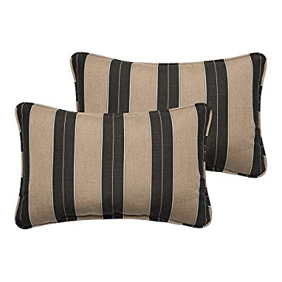 Mozaic Company AZPS6689 Indoor Outdoor Sunbrella Lumbar Pillows with Corded Edges, Set of 2, 12 x 18, Brown & Black Stripes - Color:  Sunbrella Black/ Beige Stripe Materials: Acrylic fabric, filled with 100% recycled polyester fiber Weather, mildew, fade and stain resistant with UV protection - patio, outdoor-throw-pillows, outdoor-decor - 51HxjDiULxL. SS400  -