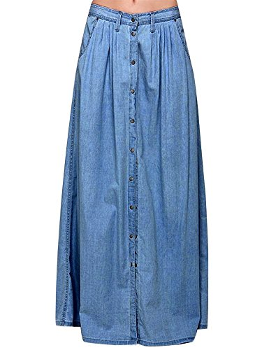 IDEALSANXUN Womens Casual High Waist A-line Long Denim Jeans Button Down Skirt with Pocket (Small, Denim blue)