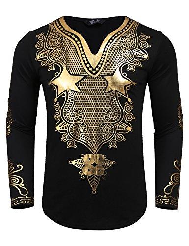 JINIDU Men's African Dashiki Shirt Metallic Floral Printed Tops Blouse by JINIDU (Image #1)