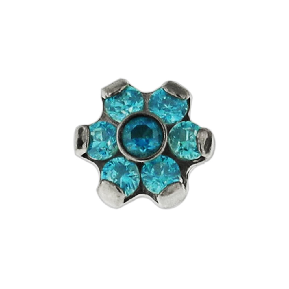 7 CZ Stones Flower G23 Grade Titanium Top Dermal Anchor Jewelry AtoZ Piercing ATOZ-LC430-RED