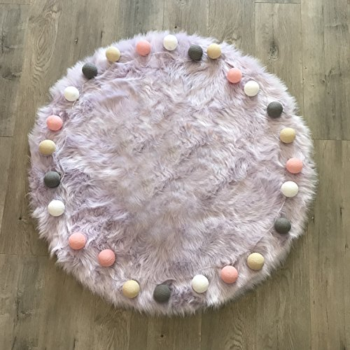 Machine Washable Faux Sheepskin Lavender Rug 42