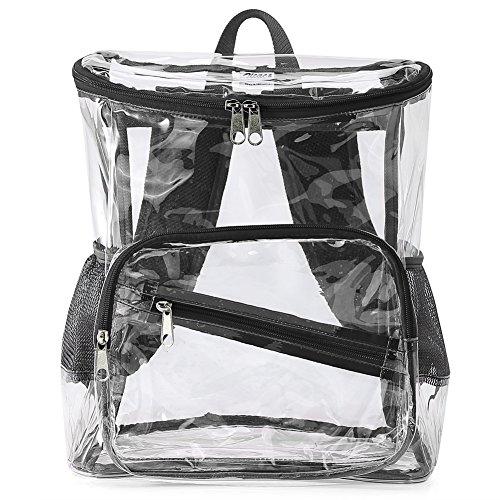 Transparent Sac avec bandoulière à PVC et dos d'école Transparent poches réseau Noir Sac à réglable Zicac latérales Girls en pW14qfn4Rz