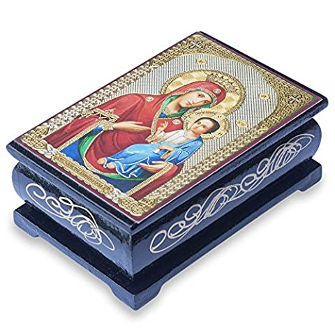 Mary in Red holding Jesus Wooden Rosary Box - Keepsake Box - Hand Painted Wooden Box