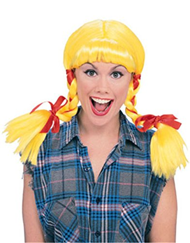 Costume Halloween Farmer Girl (Rubie's Costume Country Girl Pigtails Wig, Yellow, One)